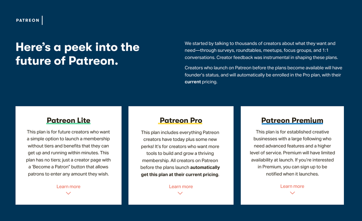 """Patreon launches """"Pro"""" and """"Premium' tiers to compete with Facebook and YouTube"""