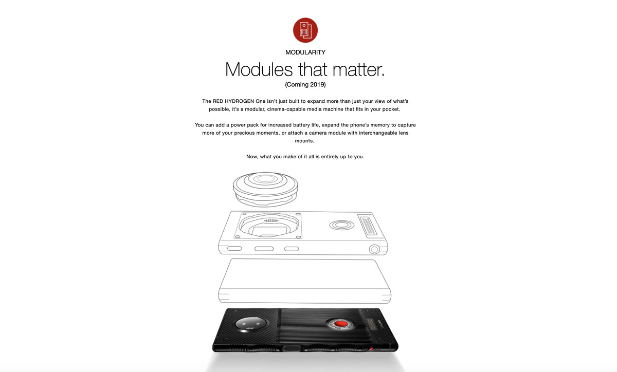 The RED Hydrogen One's promised modules have gone missing from its website