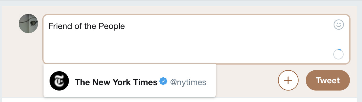 Twitter, New York Times: Friend of the People