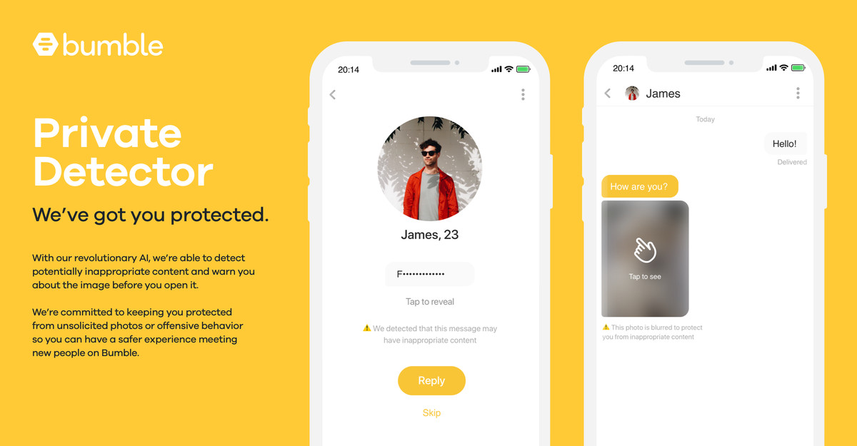 """Bumble's """"private detector"""" AI will automatically detect and blur lewd images"""