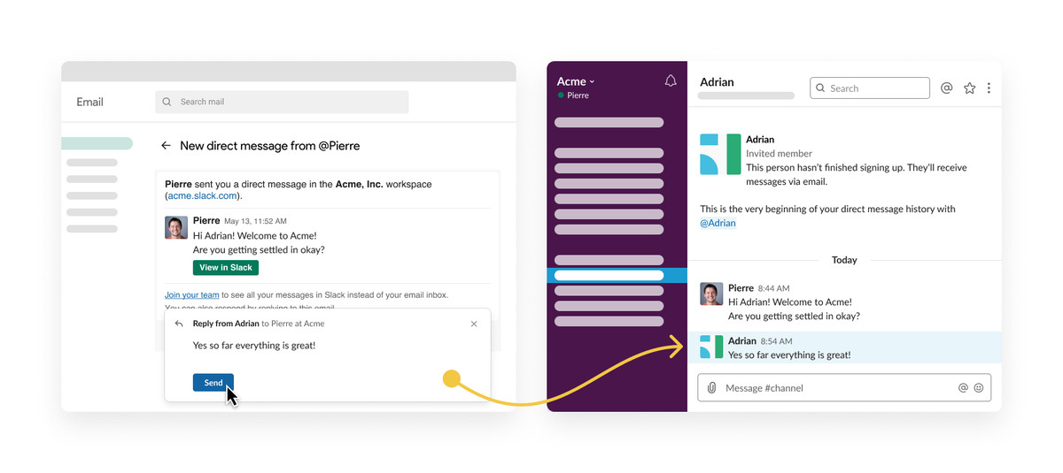 Slack is bridging email to chat, improving calendar integration and search