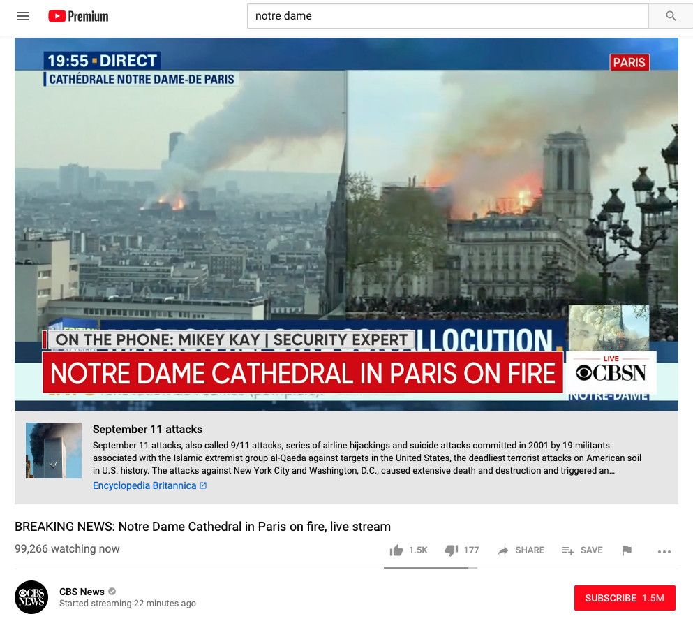 YouTube shows 9/11 link on live videos of unrelated Notre Dame fire