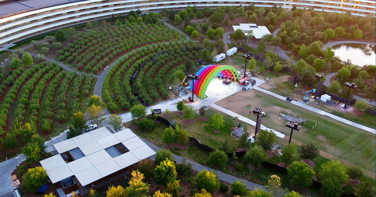 Jony Ive's latest product is the Apple Stage, a giant rainbow under which Lady Gaga is about to play