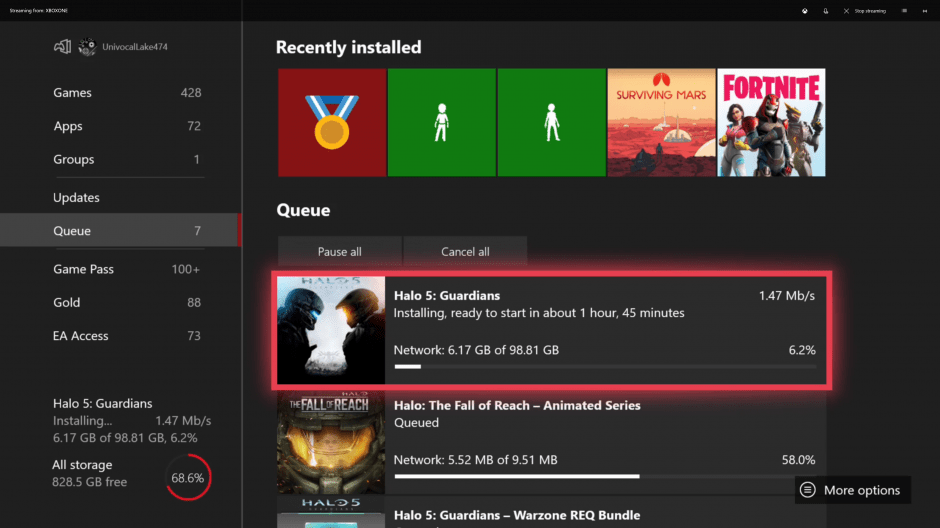 Estimated Download queue feature makes a comeback in latest Xbox One 1908 preview build