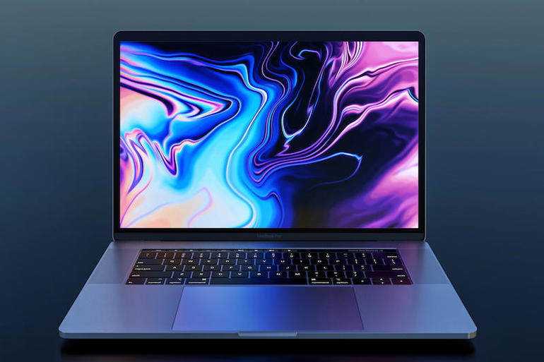 MacBook Pro 2018, front view, dark background