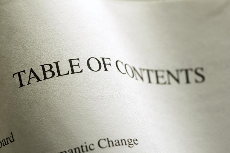 Table of contents two