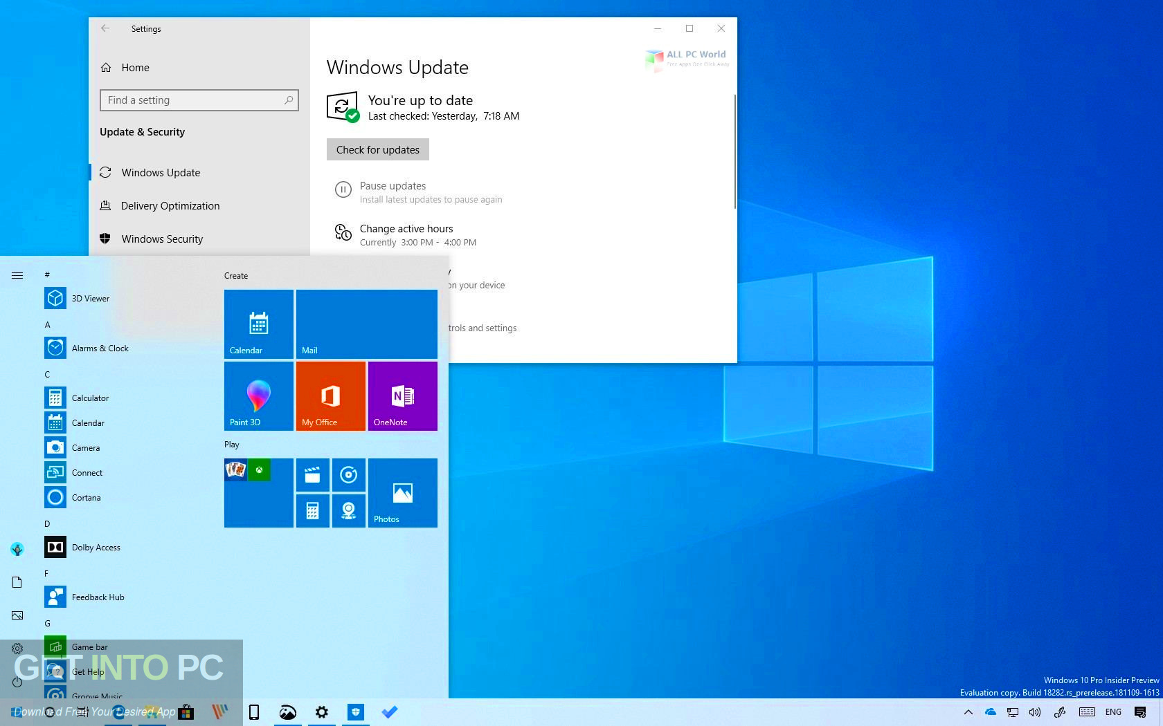 Windows 10 19H1 updated in August 2019 Direct link Download-GetintoPC.com