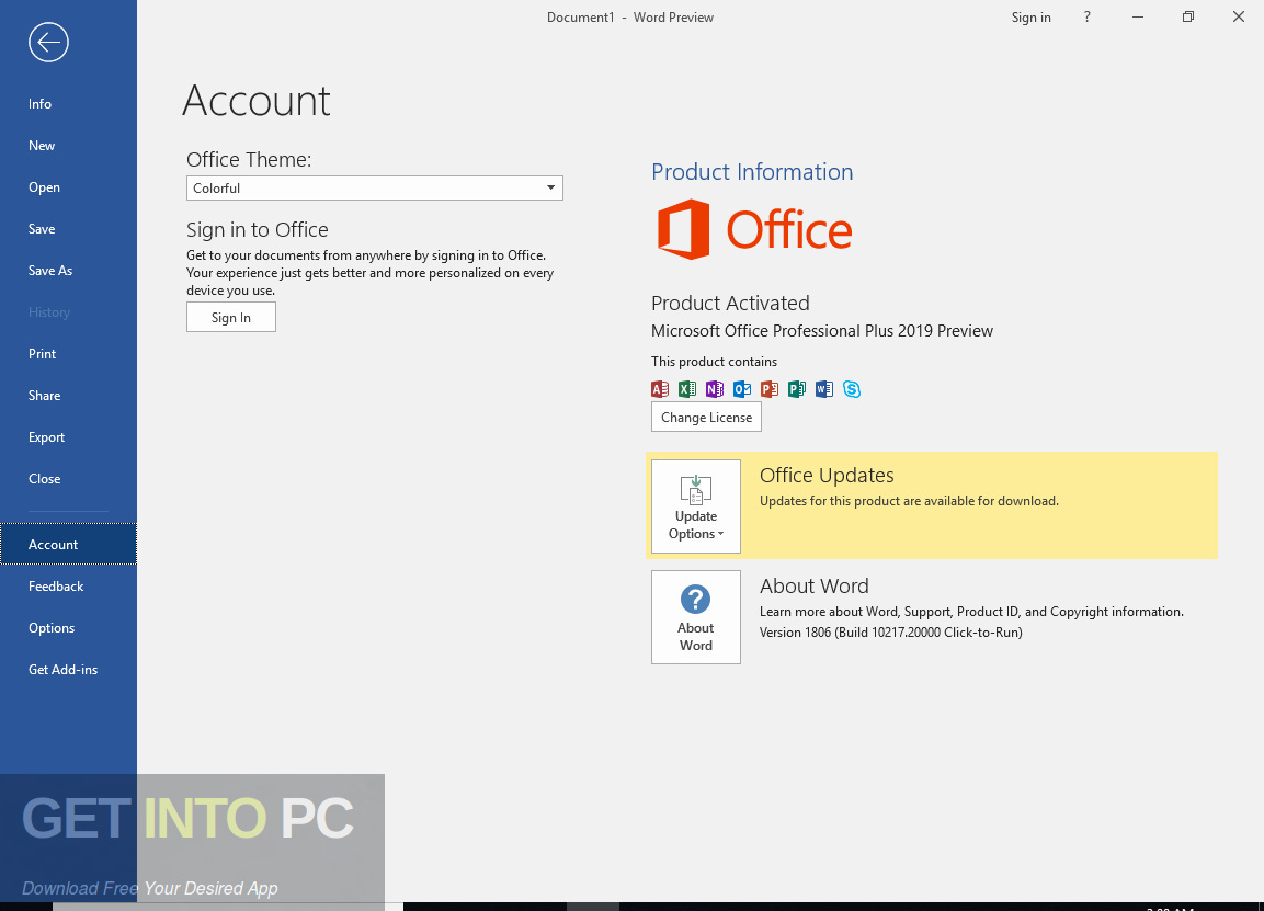 Office 2019 Professional Plus updated in August 2019 Offline installer Download-GetintoPC.com