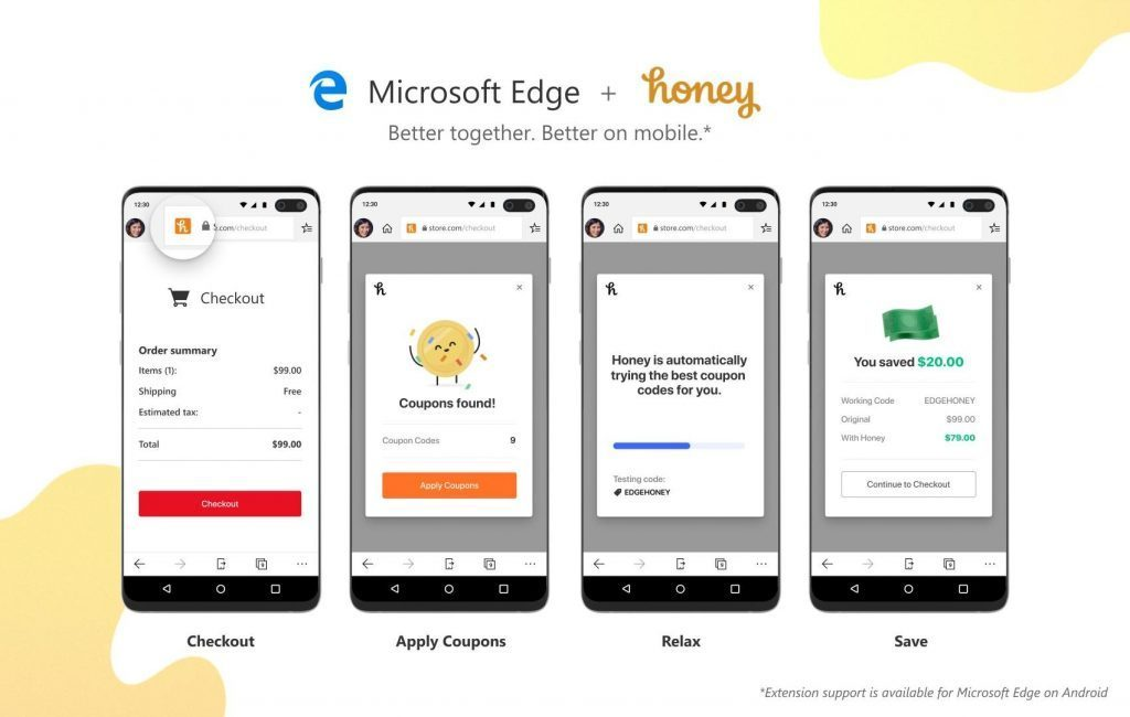 Edge Beta users on Android can start saving money with the Honey Gold extension today