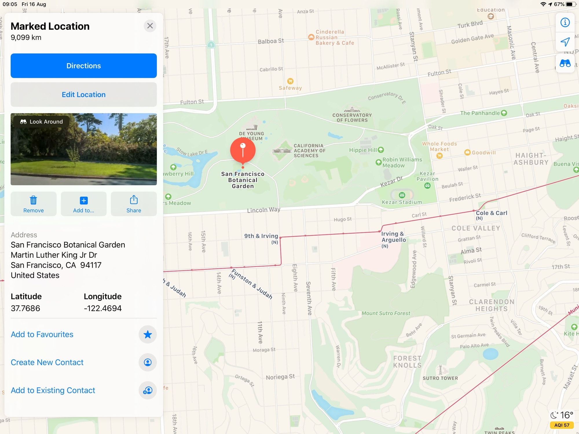 Touch the binoculars, or the Apple Maps Look Around thumbnail, to get started.