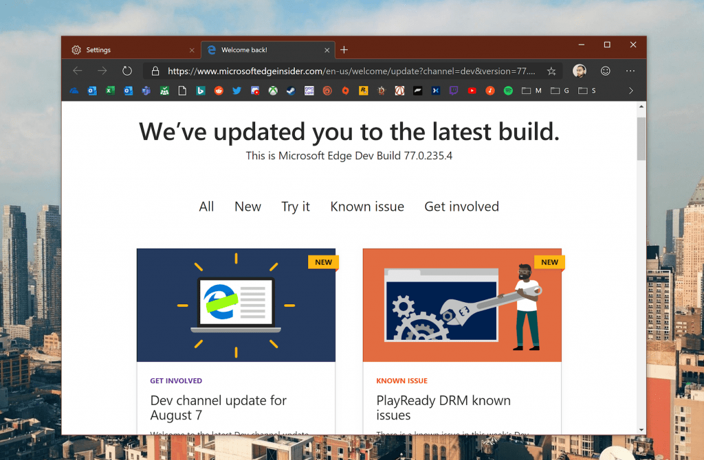 New Edge Insider Dev channel update brings more new features and fixes