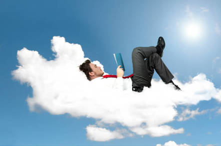 man relaxes in the cloud
