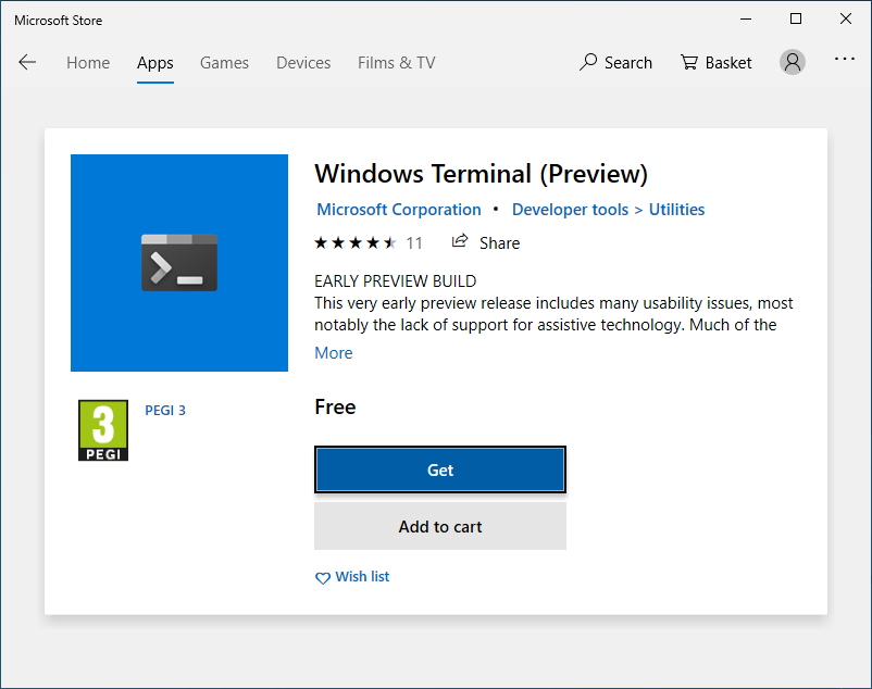 The new Terminal in the Microsoft Store