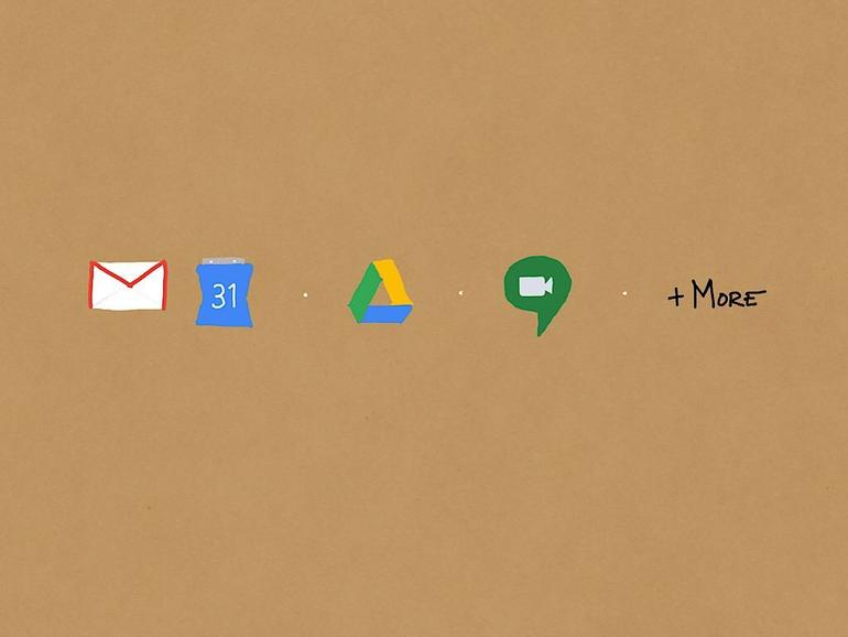 Hand-drawn logos (from left to right): Gmail and Google Calendar, separator point, Google Drive, separator point, Hangouts Meet, separator point, word
