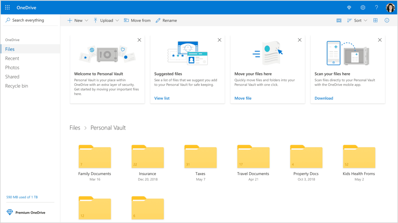 OneDrive Personal Vault is now available worldwide, free for Office 365 subscribers