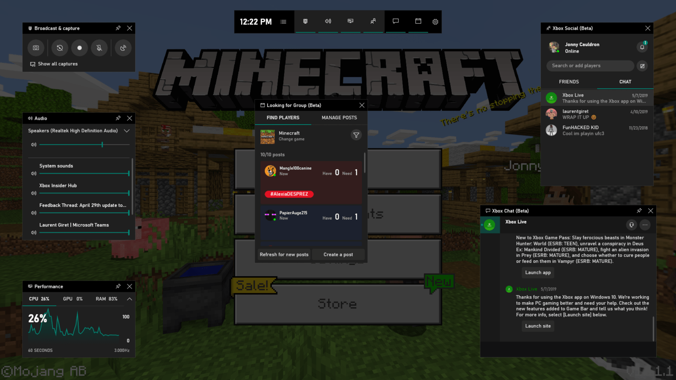 Xbox Game Bar in Minecraft