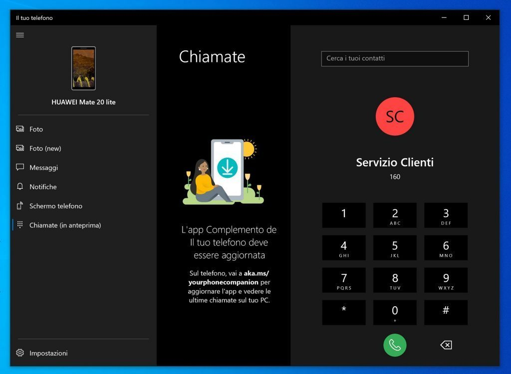 The Windows 10 Your Phone application gains the ability to make phone calls for some users