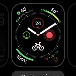 "Touch ""Customize"" to modify the watch face."
