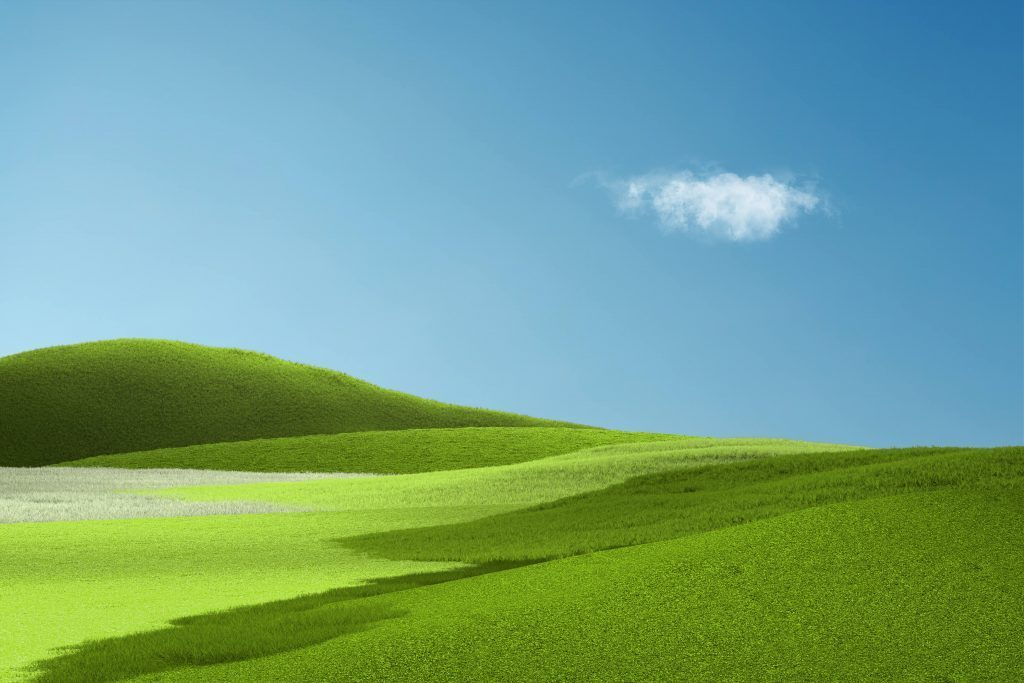"Here's what the Surface Pro X wallpaper blended with Windows XP's ""Bliss"" looks like"