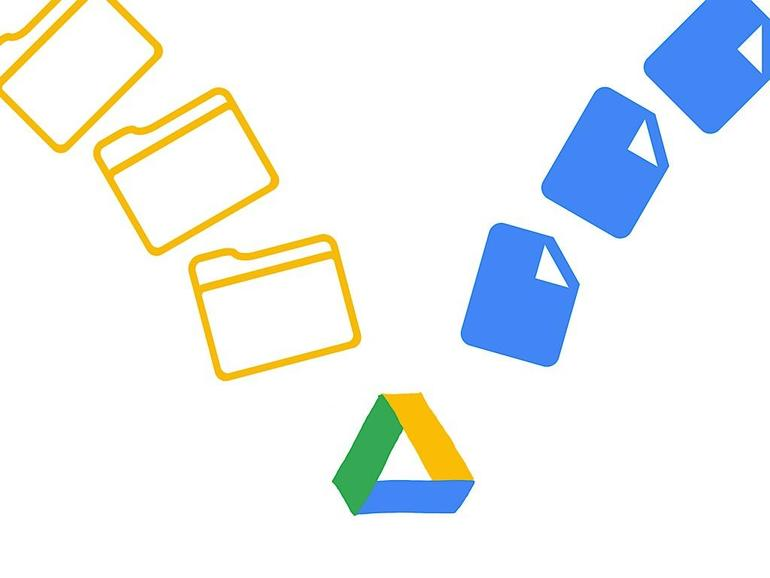 Google Drive logo (center, bottom), with three folder icons in different arched angles (above it left) and three icons of a document (in upper right arc)