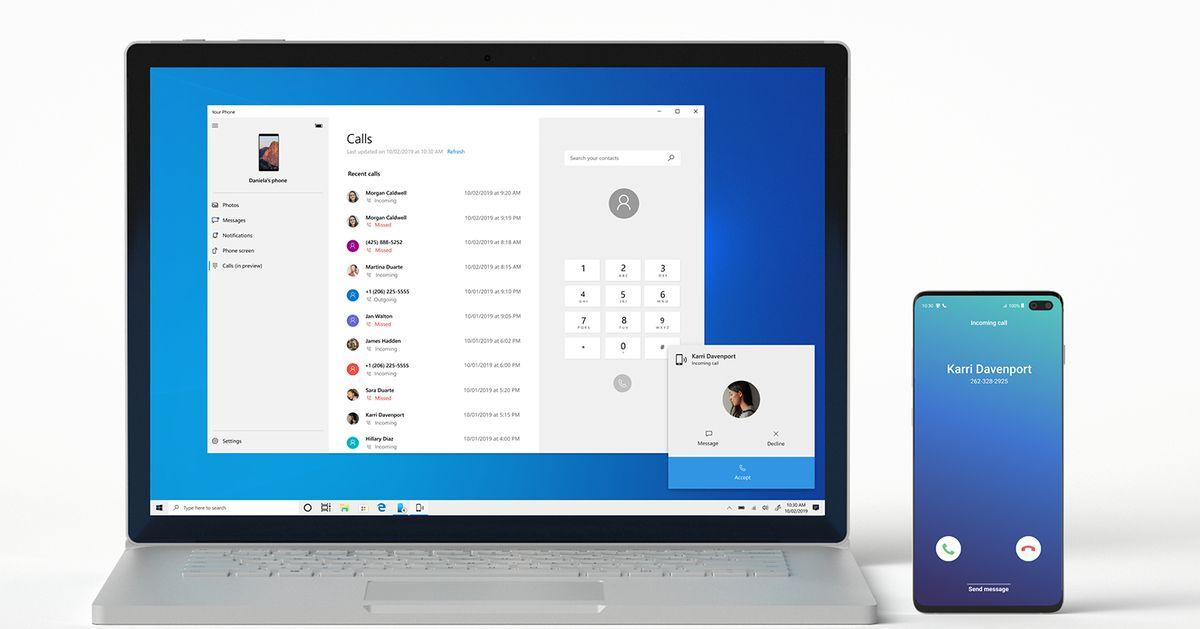 Microsoft's Your Phone app can now route calls from your Android phone to your PC