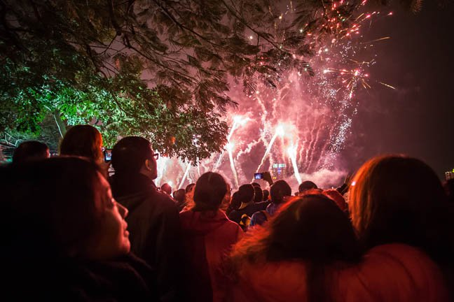 Crowd watches fireworks at night in the field. Photo by Shutterstock