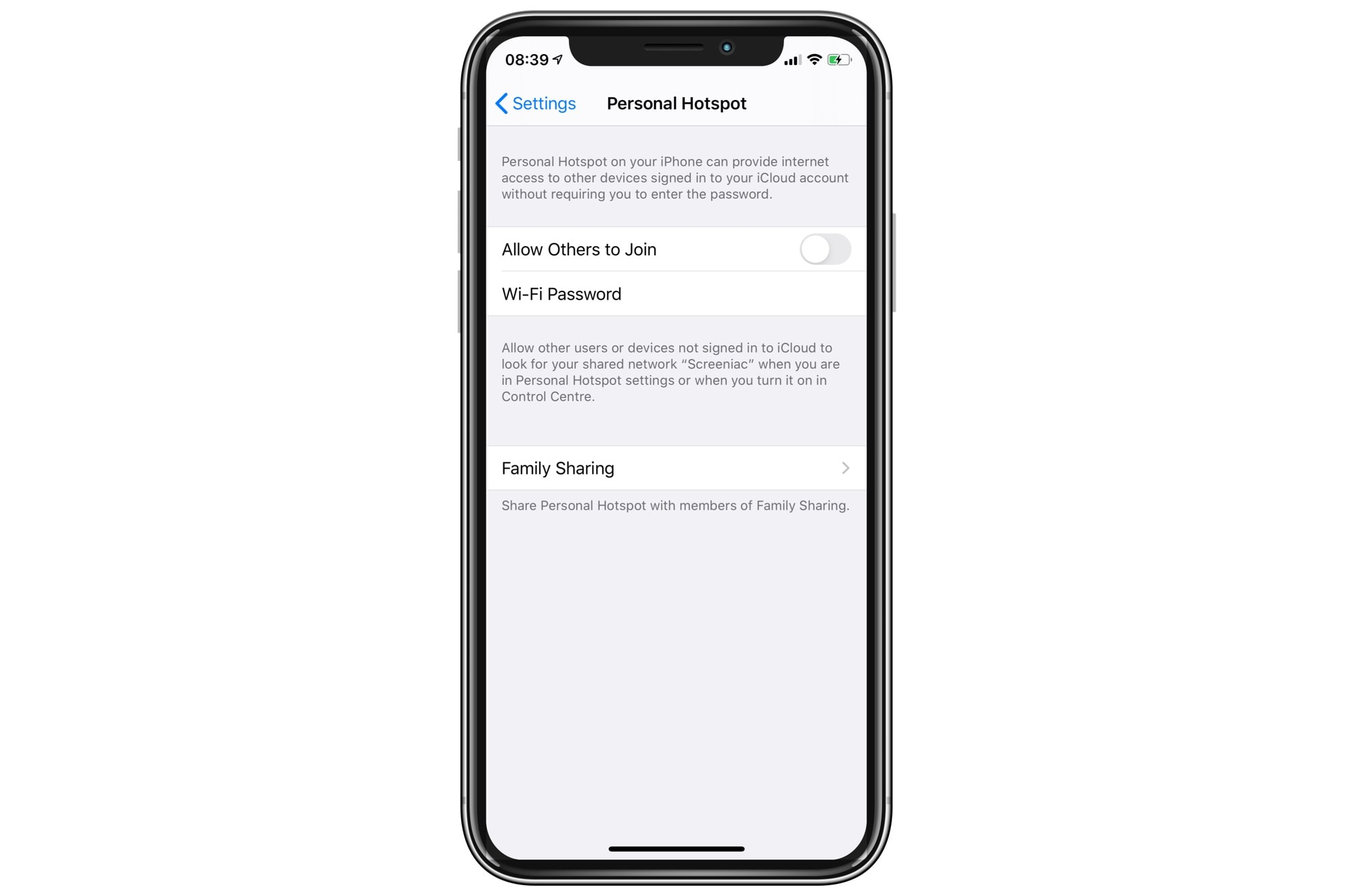 Scarce: personal access point settings in iOS 13.