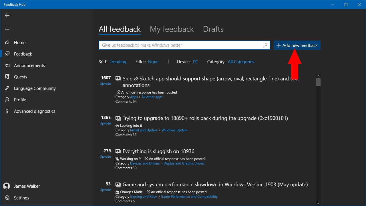 Screenshot of Feedback Hub on Windows 10