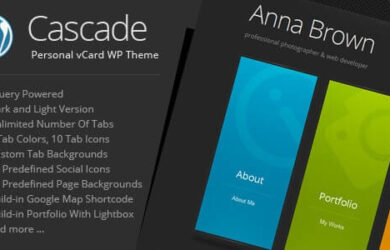 Cascade Personal vCard WordPress Theme v81 Free Download